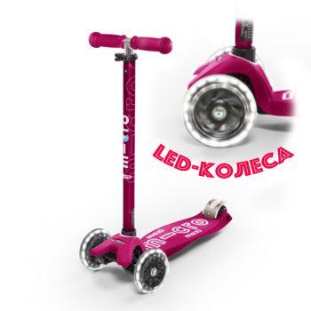 Maxi Micro DELUXE Pink + LED колеса